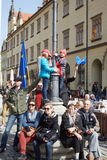 Committee for the Defence of Democracy supporters protesting in Wroclaw. On 03.04.2016 stock images