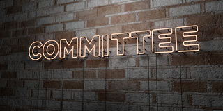 COMMITTEE - Glowing Neon Sign on stonework wall - 3D rendered royalty free stock illustration. Can be used for online banner ads and direct mailers Royalty Free Stock Image