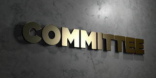 Committee - Gold sign mounted on glossy marble wall  - 3D rendered royalty free stock illustration. This image can be used for an online website banner ad or a Royalty Free Stock Photo