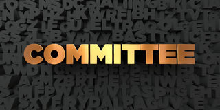 Committee - Gold text on black background - 3D rendered royalty free stock picture. This image can be used for an online website banner ad or a print postcard Royalty Free Stock Photos