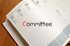 Committee text concept on notebook Stock Images