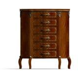 Commode en bois avec des tiroirs de Louis XV. illustration de vecteur