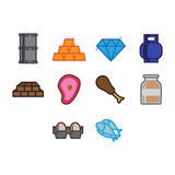 Commodities icon set Royalty Free Stock Photo
