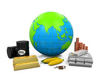 Commodities Item and Globe. On white background. 3D render Royalty Free Stock Photos