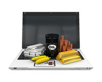 Commodities Item on Laptop Royalty Free Stock Photo