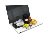 Commodities Item on Laptop Stock Photos