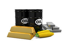 Commodities - Oil, Corn, Gold and Silver Royalty Free Stock Photos