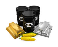 Commodities - Oil, Corn, Gold and Silver Royalty Free Stock Photo