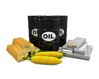 Commodities - Oil, Corn, Gold and Silver Stock Image
