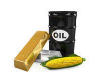 Commodities - Oil, Corn, Gold and Silver Stock Photos