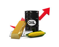 Commodities - Oil, Corn, Gold and Silver Royalty Free Stock Photography