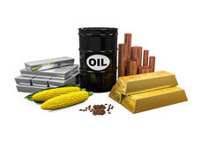 Commodities - Oil, Gold, Silver, Copper, Corn and Coffee Beans. On white background. 3D render Royalty Free Stock Photography