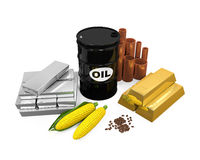 Commodities - Oil, Gold, Silver, Copper, Corn and Coffee Beans Royalty Free Stock Photo