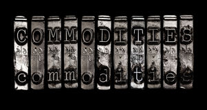 Commodities. Word in type on black royalty free stock images