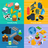 Commodity Concept Icons Set. With commodity farming and raw materials symbols isometric isolated vector illustration Stock Images