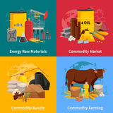 Commodity Flat 2x2 Design Concept. Various commodities flat 2x2 design concept with farming products and materials of industrial processing vector illustration Stock Photography