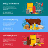 Commodity Flat Horizontal Banners Stock Image