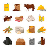 Commodity Flat Icons Set. Various commodities flat icons set with food products and materials on white background  vector illustration Royalty Free Stock Photography