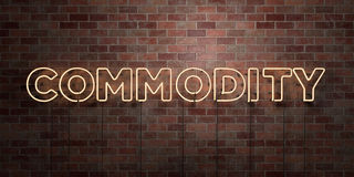 COMMODITY - fluorescent Neon tube Sign on brickwork - Front view - 3D rendered royalty free stock picture. Can be used for online banner ads and direct mailers Stock Image