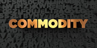 Commodity - Gold text on black background - 3D rendered royalty free stock picture. This image can be used for an online website banner ad or a print postcard Royalty Free Stock Image