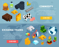 Commodity Horizontal Banners Set. With exchange trade symbols isometric isolated vector illustration Stock Images