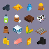 Commodity Icons Set. With milk corn and gold symbols isometric isolated vector illustration Royalty Free Stock Image