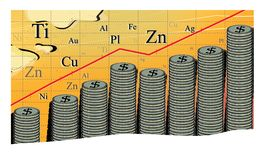 Commodity income, Abstract graph of the growth in the cost of metals. A large stack of coins with a dollar sign. Commodity income. Abstract graph of the growth vector illustration