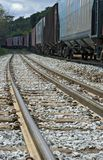 Train perspective from the viewpoint of wheels and rail Stock Images