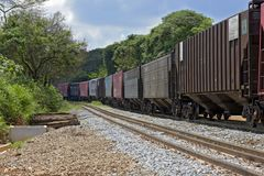 Train perspective from the viewpoint of wheels and rail Stock Image
