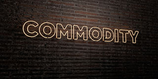 COMMODITY -Realistic Neon Sign on Brick Wall background - 3D rendered royalty free stock image. Can be used for online banner ads and direct mailers Royalty Free Stock Images