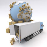 Commodity transportation. Unloading truck in an international transportation context Stock Images