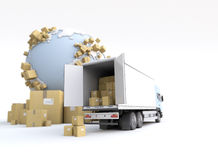 Commodity transportation. Unloading truck in an international transportation context Royalty Free Stock Photo