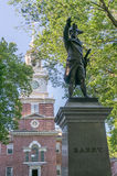 Commodore Barry with Independence Hall. Independence Hall in Philadelphia, Pennsylvania with Commodore Barry statue in foreground Stock Images