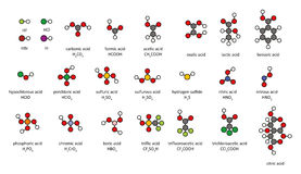 Common acids, 2D chemical structures. Royalty Free Stock Images