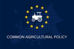 Common agricultural policy. On EU flag vector illustration