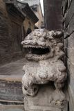 Stone carving lion in a ancient architecture,shanxi,china stock photo