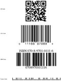 Common bar code symbols. Bar code styles, qr code, upc code, isbn code, postnet code Royalty Free Stock Photography