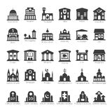 Common buildings and places vector icon set Stock Photos