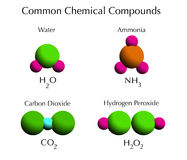 Common Chemical Compounds. Nature's most common chemical compounds, water, ammonia, carbon dioxide and hydrogen peroxide in 3d sphere molecules Royalty Free Stock Images