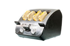 Common chrome toaster with bread Stock Photos