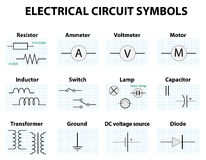 Common circuit diagram symbols Stock Photo