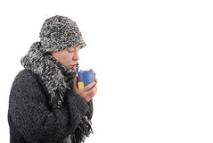 Common cold. Woman drinking a cup of tea Stock Photo