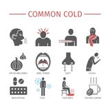 Common cold. Flu season. Symptoms, Treatment. Icons set. Vector signs for web graphics. Royalty Free Stock Photos