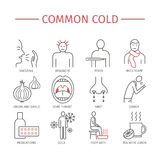 Common cold. Flu season. Symptoms, Treatment. Common cold. Line icons set. Vector signs for web graphics Royalty Free Stock Photography