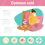 Common cold. Infographics,. The flu. Woman on sick leave. Vector. Cartoon. Isolated. Flat Illustration for websites brochures magazines Medicin royalty free illustration