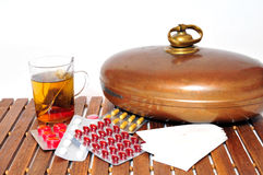 Common cold tablets tea Stock Image