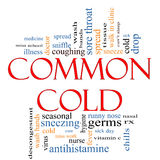 Common Cold Word Cloud Concept. With great terms such as coughing, sneezing, runny nose, tissues and more Stock Photography