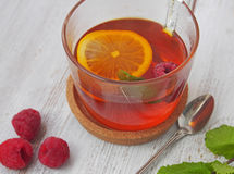 Common cure for common cold - lemon, mint, raspberry, ginger Stock Images