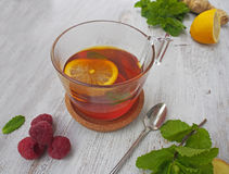 Common cure for common cold - lemon, mint, raspberry, ginger Royalty Free Stock Photos