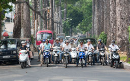 Common day in Asia. Lots of Motorbikes in Saigon (Ho Chi Minh), Vietnam Stock Photography